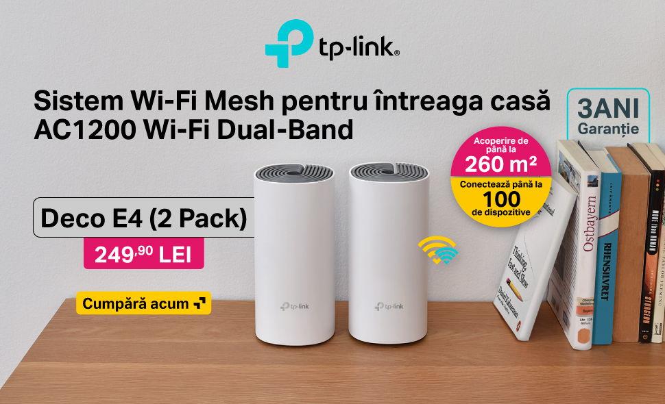 Reducere-de-pret-Sistem-Wireless-Mesh-TP-Link-Deco-E4-Dual-Band-1200-Mbps-2-Pack