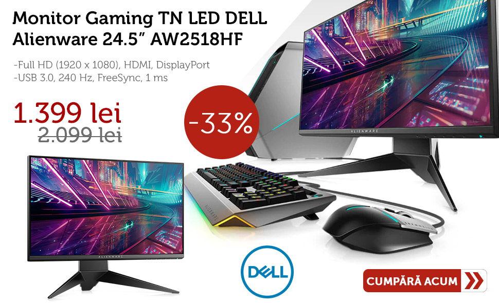 Reducere-de-pret-Monitor-Gaming-TN-LED-DELL-Alienware-24.5-AW2518HF-Full-HD-HDMI-DisplayPort-40-Hz-FreeSync-1-ms